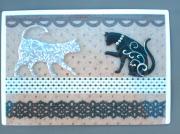"""deco design animaux decoration chat magnetique sandrine chasseigne : Plaque """"chats chics"""" PM2"""