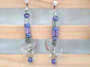 bijoux cœur boucles doreilles clip pendants : Boucles d'oreilles à clips cœurs ailés BO 28