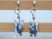 bijoux animaux boucles doreilles bijoux fantaisie bleu oiseau : Boucles d'oreilles oiseaux à clips BO 27