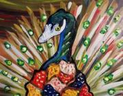 tableau animaux : Paon de couleurs