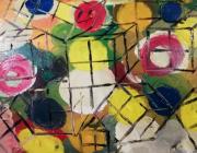 tableau abstrait : Folie de rubis cube