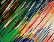 tableau abstrait : Moissons de couleurs