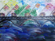 tableau paysages : Pont fleurie de Bourgogne