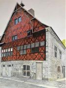 dessin architecture durbuy dessin crayons : Halle aux blés de Durbuy