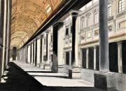 dessin architecture dessin florence galerie crayons : Galerie des offices à Florence