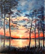 tableau paysages ndeg 9 : Coucher de Soleil sûr le Lac