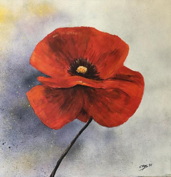 TABLEAU PEINTURE N° 104 Fleurs Acrylique  - Coquelicot