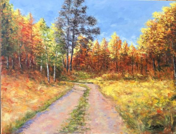 TABLEAU PEINTURE N°82 Paysages Acrylique  - Chemin dans la Forêt