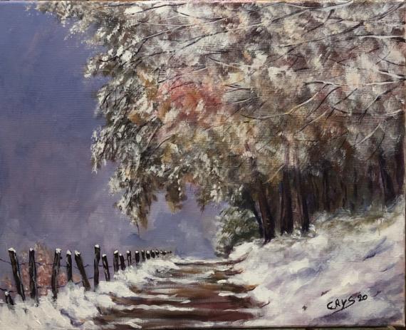 TABLEAU PEINTURE N°94 Paysages Acrylique  - Orage sous la neige