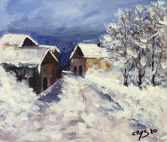 TABLEAU PEINTURE N°87 Paysages Acrylique  - Village sous la Neige