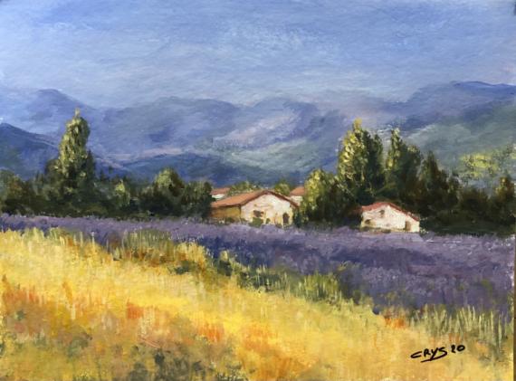 TABLEAU PEINTURE N°92 Paysages Acrylique  - Lavande en Provences