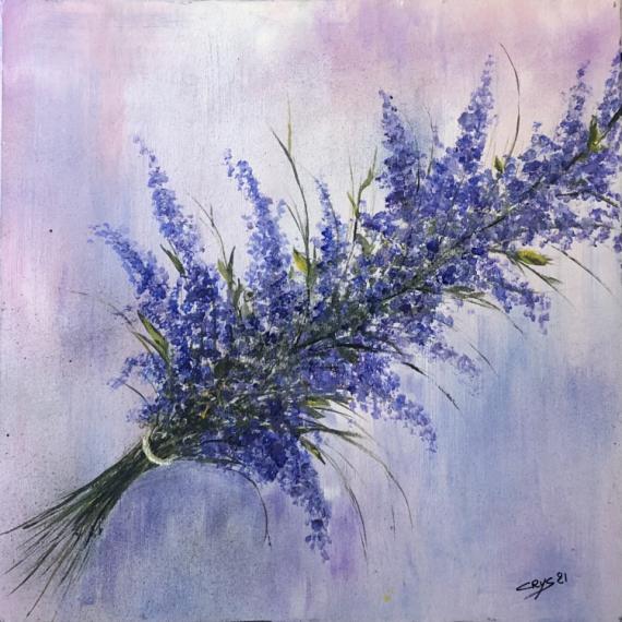 TABLEAU PEINTURE N° 109 Fleurs Acrylique  - Bouquet de Lavandes