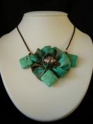 bijoux bijoucollier soiepierres turquoise cadeaux : collier soie peinte