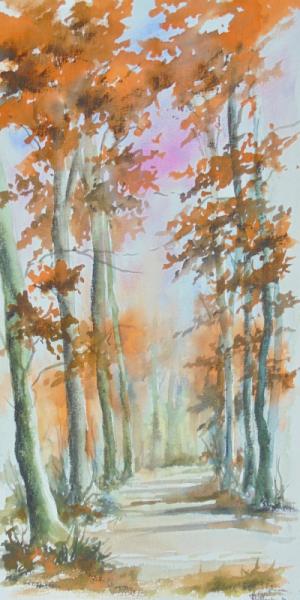 TABLEAU PEINTURE arbres foret chemin Paysages Aquarelle  - Chemin de forêt
