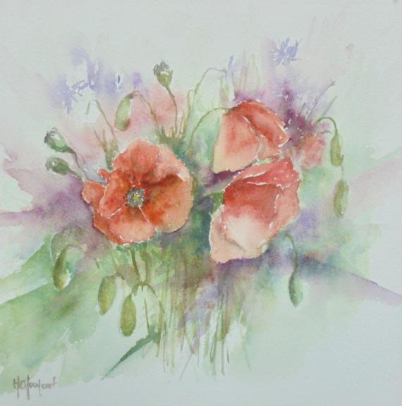 TABLEAU PEINTURE fleurs Fleurs Aquarelle  - Coquelicots