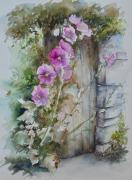 tableau fleurs fleurs pierres porte : Roses trémières