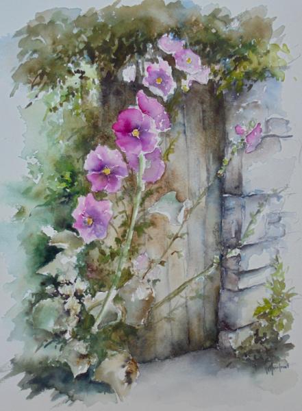 TABLEAU PEINTURE Fleurs pierres porte Fleurs Aquarelle  - Roses trémières
