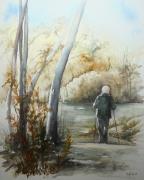 tableau paysages nature arbres personnage : Le randonneur