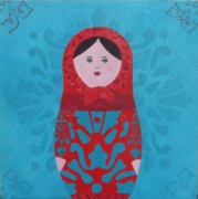 tableau personnages motif couleurs poupee russe matriochka : matriochka