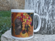 ceramique verre personnages africaine portrait mug tasse : Mug blanc avec visuel d'une peinture 'l'Africaine