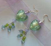 bijoux autres coeur en verre perle ,a feuille d0 cadeau gourmandise : Boucles d'oreilles Mes p'tits coeurs vert & mauve
