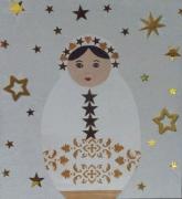 tableau personnages etoiles or fete matriochka : demoiselle étoilée
