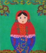 tableau personnages fleurs matriochka motifs multicolore : demoiselle russe