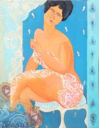 'Métisse Cachemire' Portrait acrylique bleu & oran