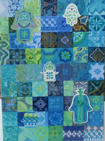 TABLEAU PEINTURE style oriental mosaïque de motifs g main de fatima peinture et collage Acrylique  - Essaouira