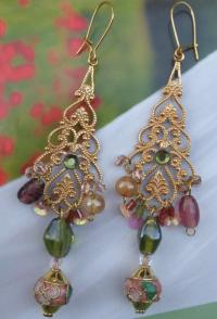 Boucles d'oreilles dorées roses & vertes 'Hortensi