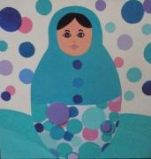 tableau personnages matriochka peinte ,a collages de motifs r couleurs tendres et demoiselle pop : demoiselle pop
