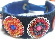 """bijoux autres braceletmanchette ,a estampe brodee de pe bijou esprit boheme ruban et perles : Bracelet feutrine """"Circus"""" avec estampes perlées &"""
