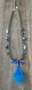 """bijoux autres plume perle de verre bleue plastique fou etoile : Collier multi-cordons """"Plume"""" en perles de verre bleue"""