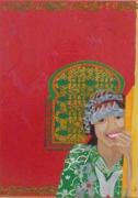 tableau personnages portrait berbere vert et rouge motifs du henne moucharabieh : jeune Berbère Marocaine