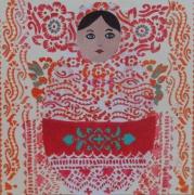 tableau personnages tatouage demoiselle tahiti matriochka pente ,a l motifs de couleurs : demoiselle tahiti