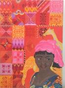 tableau personnages motifs d afriqu portrait d une jeu de motifs peints couleurs vives : motifs d'Afrique