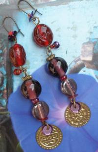 Boucles d'oreilles violettes/rouges 'Byzance'