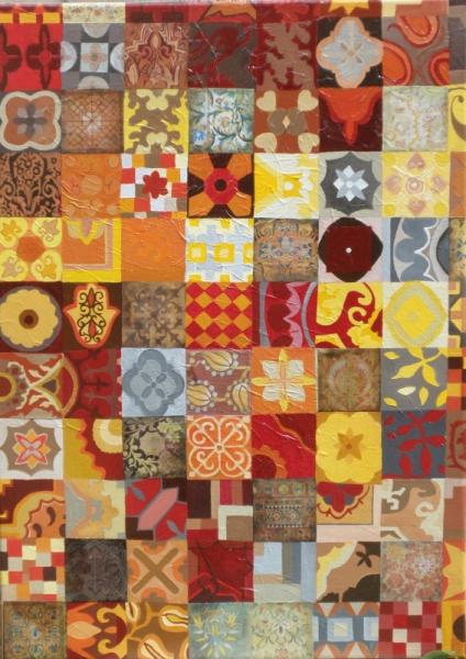 TABLEAU PEINTURE mosaïque de motifs peinture à l'ac style oriental couleurs chaudes Acrylique  - mosaïque de motifs à l'acrylique et collages