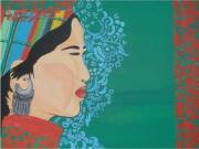 tableau personnages portrait ethnique jeune h mong couleurs vives motif floraux : jeune H'mong