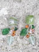 bijoux fruits perle de verre perle verte marbree grappe de perles gourmand : Boucles d'oreilles 'Fruits d'été' en verre