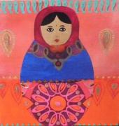 tableau personnages matriochka inde cachemire or : demoiselle indienne