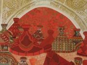 """tableau nature morte motifs et couleurs d les tajines objets quotidiens du peinture acrylique e : """"Les tajines"""""""