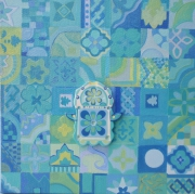tableau autres tableau camaieu de v main de fatma maroca jeu de motifs et de portebonheur : camaieu de vert
