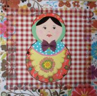 """Peinture Matriochka """"Fleurs & Carreaux"""""""