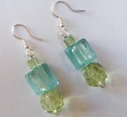 bijoux autres bleu menthe ,a l039 couleurs acidulees gourmandise perles de verre : Boucles d'oreilles aux 3 perles en verre de coloris vert &a