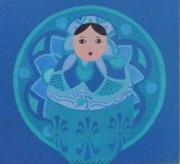 tableau personnages penture matriochka b rosace de motifs camaieu de bleus esprit nordique : demoiselle bleutée