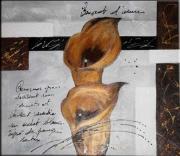 tableau fleurs tableau contemporain arums or : ARUMS D'OR