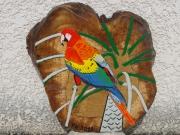 bois marqueterie animaux perroquet exotique : ARA