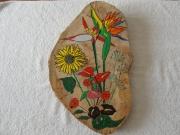 bois marqueterie fleurs exotique couleurs : COMPOSITION FLORALE : LY THI HOA
