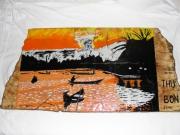 bois marqueterie paysages vietnam thu bon coucher de soleil : THU BON